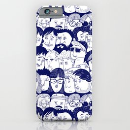 Hand Drawn Human Faces Pattern iPhone Case