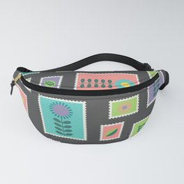 Hygge style colorful postage stamps Fanny Pack