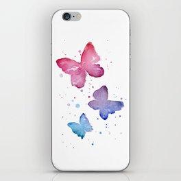 Butterflies Watercolor Abstract Splatters iPhone Skin