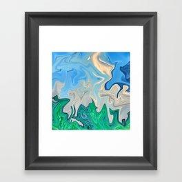 Ocean Meeting Land Marble Framed Art Print
