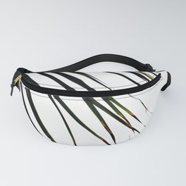 Windswept Tropical Palm Tree In Black Fanny Pack