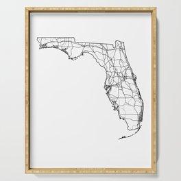 Florida White Map Serving Tray