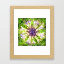 Purple Green Abstract Flower Framed Art Print