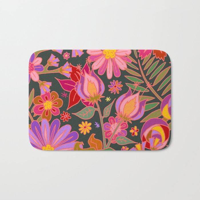 Flowers on Green Bath Mat