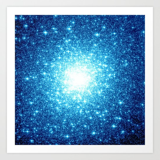 Turquoise Blue Galaxy Stars Art Print