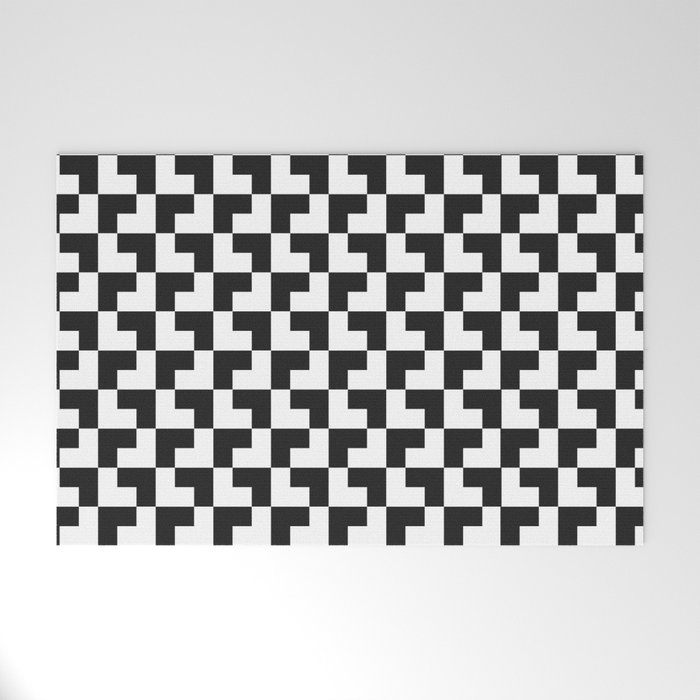 Black and White Tessellation Pattern - Graphic Design Welcome Mat