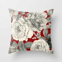 SEPIA FLOWERS ON RED Throw Pillow