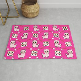 Cute fluffy cuddly funny Kawaii baby llamas, happy cheerful sushi with shrimp on top, rice balls and chopsticks raspberry pink pattern design. Rug