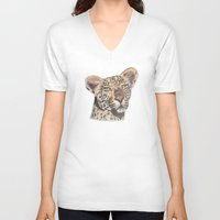 leopard V-neck T-shirts featuring leopard by becbugs
