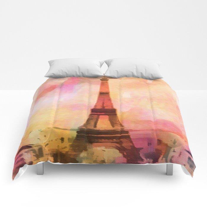 Paris Eifel Tower Abstract Art Illustration pink orange yellow Comforters