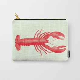 Pink Lobster on Linen Nautical Decor Carry-All Pouch