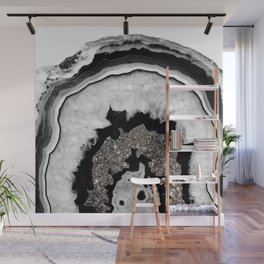 Gray Black White Agate with Silver Glitter #1 #gem #decor #art #society6 Wall Mural