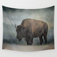 wildlife Wall Tapestries featuring Stormy Day - Buffalo - Wildlife by Jai Johnson