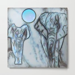 Elephants in blue Metal Print