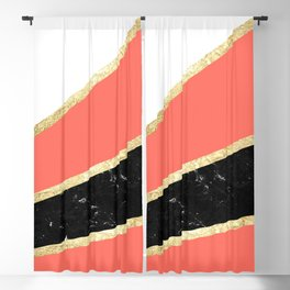 Living Coral, White, Black Marble and Gold Stripes Glam #1 #minimal #decor #art #society6 Blackout Curtain