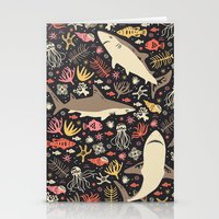 blankets Stationery Cards featuring Oceanica by Anna Deegan