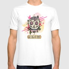 Live Fast MEDIUM White Mens Fitted Tee