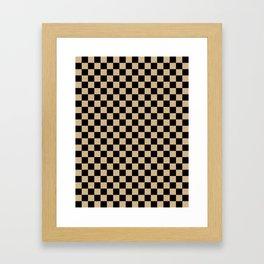 Black and Tan Brown Checkerboard Framed Art Print