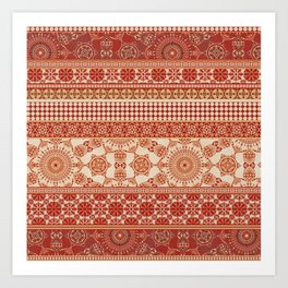 Ornate Moroccan in Red Art Print