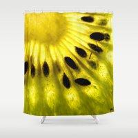 kiwi Shower Curtains featuring Kiwi by Irene Leon