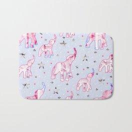 Cute Pastel Tone Elephants Stars Pattern Bath Mat