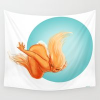 goldfish Wall Tapestries featuring Goldfish by Leslie Boulay