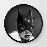 batgirl Wall Clocks featuring Batgirl by cennet kapkac