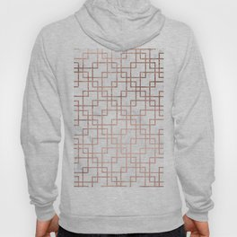 Modern rose gold geometric abstract square pattern on white marble Hoody