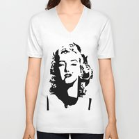 monroe V-neck T-shirts featuring Monroe by annelise h
