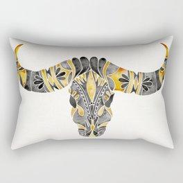 Water Buffalo Skull – Black & Yellow Rectangular Pillow