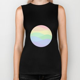 rainbow waves unicorn colors Biker Tank