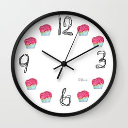 Cupcake Illustration The Sky Is The Limit - inspirational typography Wall Clock
