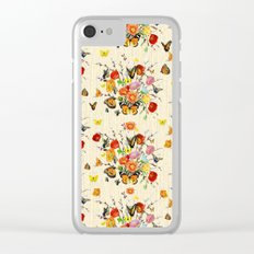 Butterfly Bouquet on Raw Silk Clear iPhone Case