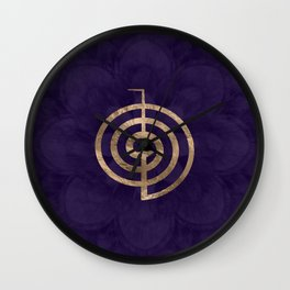 Cho Ku Rei - gold on purple lotus Wall Clock