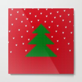 Knitted Christmas tree Metal Print