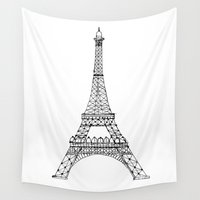eiffel tower Wall Tapestries featuring Eiffel Tower by Maria Lauren Lambiris