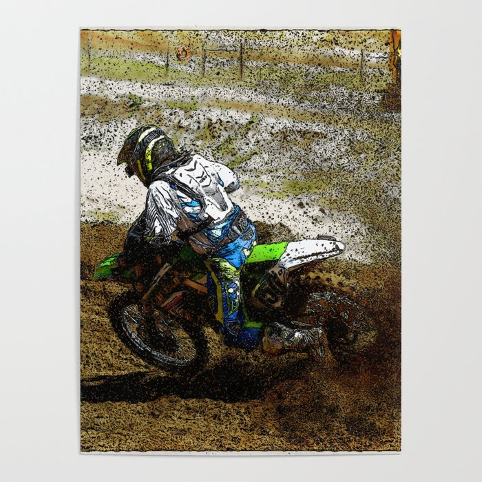 Round the Bend - Dirt-Bike Racing Poster