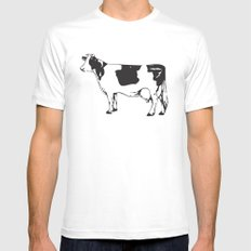 Poor Cow. MEDIUM Mens Fitted Tee White