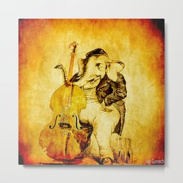 The elephant in the double bass Metal Print
