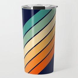 Farida - 70s Vintage Style Retro Stripes Travel Mug