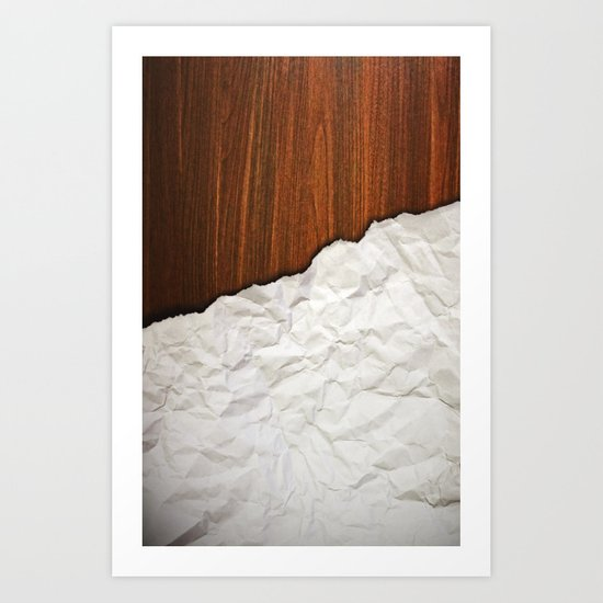 Wooden Crumbled Paper Art Print