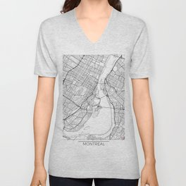 Montreal Map White Unisex V-Neck