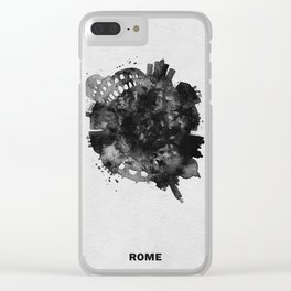 Rome, Italy Black and White Skyround / Skyline Watercolor Painting Clear iPhone Case