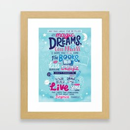 May your coming year be filled with dreams by Neil Gaiman Framed Art Print