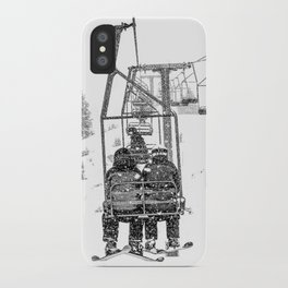 Snow Lift // Ski Chair Lift Colorado Mountains Black and White Snowboarding Vibes Photography iPhone Case