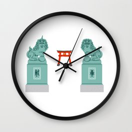 Imperial guardian lions Wall Clock