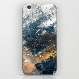 Wander [4]: a vibrant, colorful, abstract in blues, white, and gold iPhone Skin