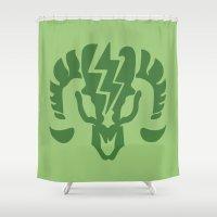bioshock infinite Shower Curtains featuring Bioshock Infinite Vigors - Charge by GunnerGrump