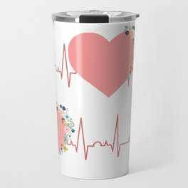 Flower ECG Hearts Travel Mug