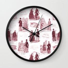Biedermeier Red Fashion Toile Wall Clock